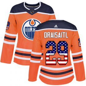 Wholesale Cheap Adidas Oilers #29 Leon Draisaitl Orange Home Authentic USA Flag Women\'s Stitched NHL Jersey