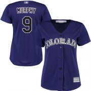 Wholesale Cheap Rockies #9 Daniel Murphy Purple Alternate Women's Stitched MLB Jersey