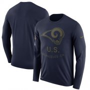 Wholesale Cheap Men's Los Angeles Rams Nike Navy Salute to Service Sideline Legend Performance Long Sleeve T-Shirt