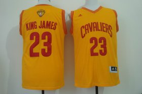 Wholesale Cheap Men\'s Cleveland Cavaliers #23 King James Nickname 2017 The NBA Finals Patch Yellow Fashion Jersey