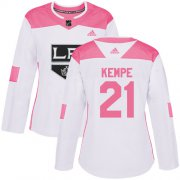 Wholesale Cheap Adidas Kings #21 Mario Kempe White/Pink Authentic Fashion Women's Stitched NHL Jersey