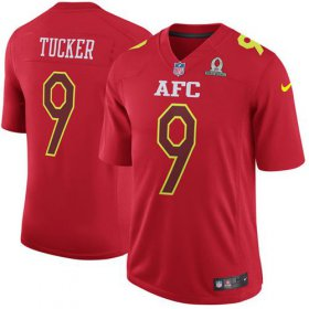 Wholesale Cheap Nike Ravens #9 Justin Tucker Red Men\'s Stitched NFL Game AFC 2017 Pro Bowl Jersey