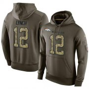 Wholesale Cheap NFL Men's Nike Denver Broncos #12 Paxton Lynch Stitched Green Olive Salute To Service KO Performance Hoodie