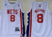 Wholesale Cheap New Jersey Nets #8 Deron Williams ABA Hardwood Classic White Swingman Jersey