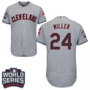 Wholesale Cheap Indians #24 Andrew Miller Grey Flexbase Authentic Collection 2016 World Series Bound Stitched MLB Jersey
