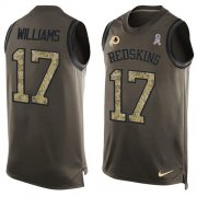 Wholesale Cheap Nike Redskins #17 Doug Williams Green Men's Stitched NFL Limited Salute To Service Tank Top Jersey