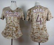Wholesale Cheap Padres #4 Wil Myers Camo Alternate 2 Women's Stitched MLB Jersey