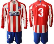 Wholesale Cheap Atletico Madrid #3 Filipe Luis Home Long Sleeves Soccer Club Jersey