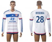 Wholesale Cheap Lyon #28 Mvuemba Home Long Sleeves Soccer Club Jersey