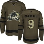 Wholesale Cheap Adidas Avalanche #9 Lanny McDonald Green Salute to Service Stitched NHL Jersey