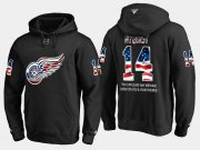 Wholesale Cheap Red Wings #14 Gustav Nyquist NHL Banner Wave Usa Flag Black Hoodie