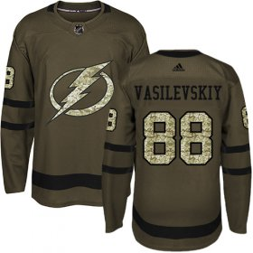 Wholesale Cheap Adidas Lightning #88 Andrei Vasilevskiy Green Salute to Service Stitched Youth NHL Jersey