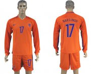 Wholesale Cheap Holland #17 Narsingh Home Long Sleeves Soccer Country Jersey