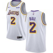 Wholesale Cheap Nike Los Angeles Lakers #2 Lonzo Ball White NBA Swingman Association Edition Jersey