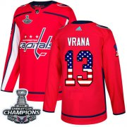 Wholesale Cheap Adidas Capitals #13 Jakub Vrana Red Home Authentic USA Flag Stanley Cup Final Champions Stitched NHL Jersey