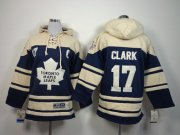 Wholesale Maple Leafs #17 Wendel Clark Blue Sawyer Hooded Sweatshirt Stitched Youth NHL Jersey