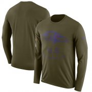 Wholesale Cheap Men's Baltimore Ravens Nike Olive Salute to Service Sideline Legend Performance Long Sleeve T-Shirt