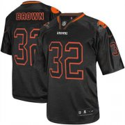 Wholesale Cheap Nike Browns #32 Jim Brown Lights Out Black Men's Stitched NFL Elite Jersey