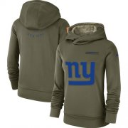 Wholesale Cheap Women's New York Giants Nike Olive Salute to Service Sideline Therma Performance Pullover Hoodie