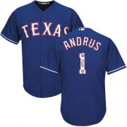 Wholesale Cheap Rangers #1 Elvis Andrus Blue Team Logo Fashion Stitched MLB Jersey