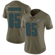 Wholesale Cheap Nike Eagles #65 Lane Johnson Olive Women's Stitched NFL Limited 2017 Salute to Service Jersey