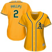 Wholesale Cheap Athletics #2 Tony Phillips Gold Alternate Women's Stitched MLB Jersey