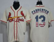 Wholesale Cardinals #13 Matt Carpenter Cream USA Flag Fashion Stitched Baseball Jersey
