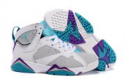 Wholesale Cheap Womens Air Jordan 7 Retro Shoes White/grey-blue-purple