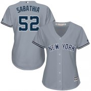 Wholesale Cheap Yankees #52 C.C. Sabathia Grey Road Women's Stitched MLB Jersey