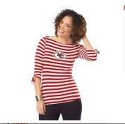 Wholesale Cheap Kansas City Chiefs Lady Striped Boatneck Three-Quarter Sleeve T-Shirt