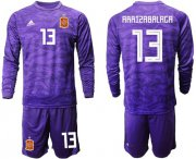 Wholesale Cheap Spain #13 Arrizabalaga Purple Long Sleeves Goalkeeper Soccer Country Jersey