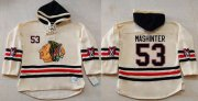 Wholesale Blackhawks #53 Brandon Mashinter Cream Heavyweight Pullover Hoodie Stitched NHL Jersey