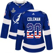 Cheap Adidas Lightning #20 Blake Coleman Blue Home Authentic USA Flag Women's 2020 Stanley Cup Champions Stitched NHL Jersey