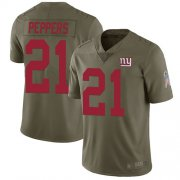 Wholesale Cheap Nike Giants #21 Jabrill Peppers Olive Men's Stitched NFL Limited 2017 Salute to Service Jersey