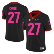Wholesale Cheap Georgia Bulldogs 27 Nick Chubb Black Breast Cancer Awareness College Football Jersey
