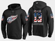 Wholesale Cheap Red Wings #13 Pavel Datsyuk NHL Banner Wave Usa Flag Black Hoodie