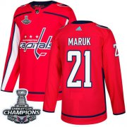 Wholesale Cheap Adidas Capitals #21 Dennis Maruk Red Home Authentic Stanley Cup Final Champions Stitched NHL Jersey