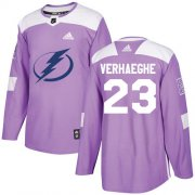 Cheap Adidas Lightning #23 Carter Verhaeghe Purple Authentic Fights Cancer Stitched NHL Jersey
