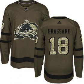 Wholesale Cheap Adidas Avalanche #18 Derick Brassard Green Salute To Service Stitched NHL Jersey