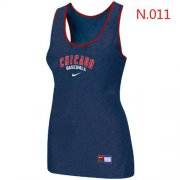Wholesale Cheap Women's Nike Chicago Cubs Tri-Blend Racerback Stretch Tank Top Blue