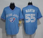 Wholesale Cheap Blue Jays #55 Russell Martin Light Blue Cooperstown Throwback Stitched MLB Jersey