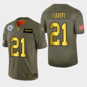 Wholesale Cheap Dallas Cowboys #21 Ezekiel Elliott Men's Nike Olive Gold 2019 Salute to Service Limited NFL 100 Jersey