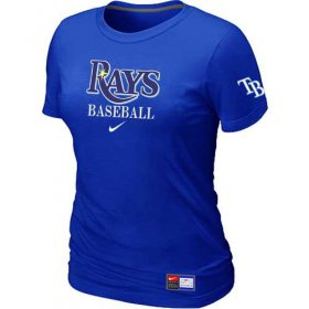Wholesale Cheap Women\'s Tampa Bay Rays Nike Short Sleeve Practice MLB T-Shirt Blue