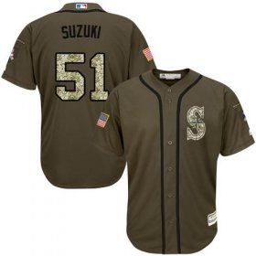 Wholesale Cheap Mariners #51 Ichiro Suzuki Green Salute to Service Stitched MLB Jersey