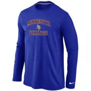 Wholesale Cheap Nike Minnesota Vikings Heart & Soul Long Sleeve T-Shirt Blue