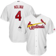Wholesale Cheap St. Louis Cardinals #4 Yadier Molina Majestic 2019 Postseason Official Cool Base Player Jersey White