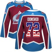 Wholesale Cheap Adidas Avalanche #72 Joonas Donskoi Burgundy Home Authentic USA Flag Women's Stitched NHL Jersey