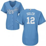 Wholesale Cheap Royals #12 Jorge Soler Light Blue Alternate Women's Stitched MLB Jersey