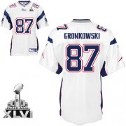 Wholesale Cheap Patriots #87 Rob Gronkowski White Super Bowl XLVI Embroidered NFL Jersey
