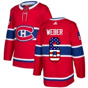 Wholesale Cheap Adidas Canadiens #6 Shea Weber Red Home Authentic USA Flag Stitched NHL Jersey